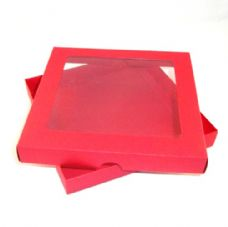 "6"" x 6"" Red Invitation Boxes With Aperture Lid"